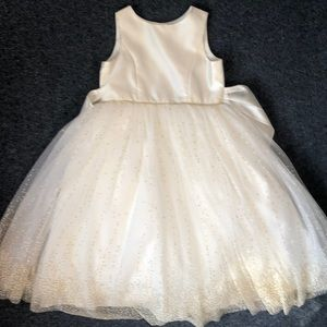 Ivory and Gold Dress, Fully Lined with Petticoat